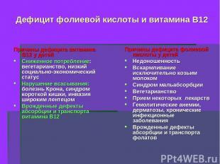 Дефицит фолиевой кислоты и витамина В12 Причины дефицита витамина В12 у детей Сн