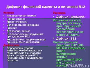Дефицит фолиевой кислоты и витамина В12 Клиника Макроцитарная анемия Панцитопени