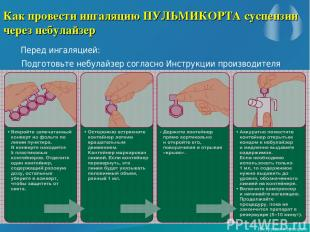 Как провести ингаляцию ПУЛЬМИКОРТА суспензии через небулайзер Перед ингаляцией: