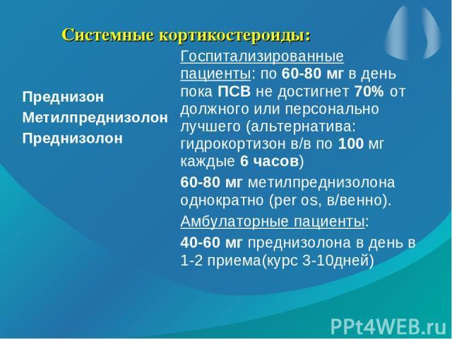 Системные кортикостероиды: Преднизон Метилпреднизолон Преднизолон Госпитализированные пациенты: по 60-80 мг в день пока ПСВ не достигнет 70% от должного или персонально лучшего (альтернатива: гидрокортизон в/в по 100 мг каждые 6 часов) 60-80 мг мети…