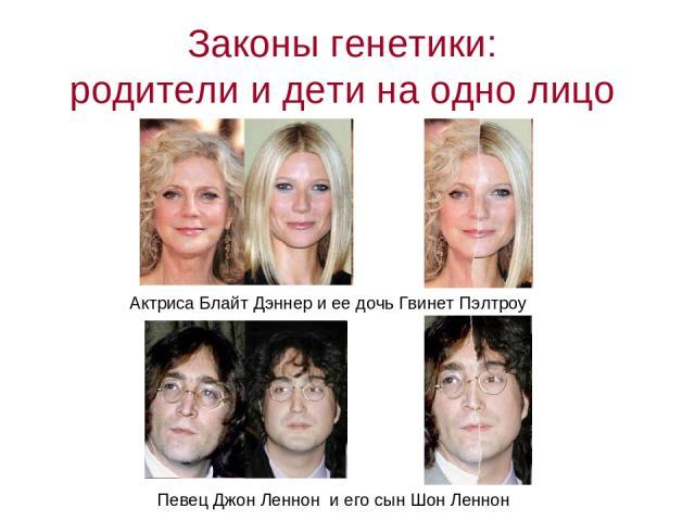 Законы генетики: родители и дети на одно лицо Актриса Блайт Дэннер и ее дочь Гвинет Пэлтроу Певец Джон Леннон и его сын Шон Леннон