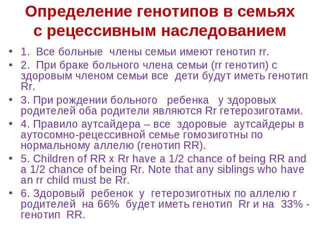 1. Все больные члены семьи имеют генотип rr. 2. При браке больного члена семьи (rr генотип) с здоровым членом семьи все дети будут иметь генотип Rr. 3. При рождении больного ребенка у здоровых родителей оба родители являются Rr гетерозиготами. 4. Пр…