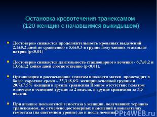 Остановка кровотечения транексамом (120 женщин с начавшимся выкидышем) Достоверн