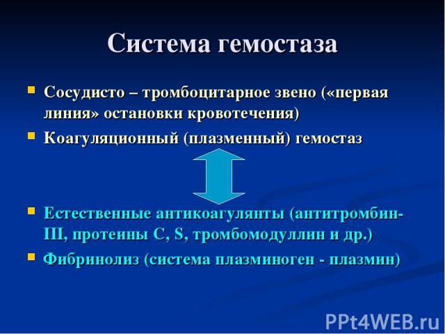 Система гемостаза Сосудисто – тромбоцитарное звено («первая линия» остановки кровотечения) Коагуляционный (плазменный) гемостаз Естественные антикоагулянты (антитромбин-III, протеины С, S, тромбомодуллин и др.) Фибринолиз (система плазминоген - плазмин)
