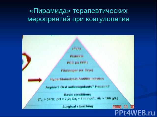«Пирамида» терапевтических мероприятий при коагулопатии