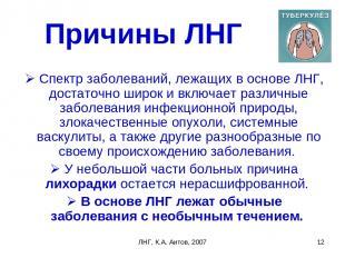 ЛНГ, К.А. Аитов, 2007 * Причины ЛНГ Спектр заболеваний, лежащих в основе ЛНГ, до
