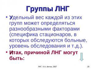 ЛНГ, К.А. Аитов, 2007 * Группы ЛНГ Удельный вес каждой из этих групп может опред