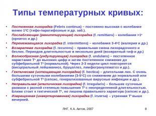 ЛНГ, К.А. Аитов, 2007 * Типы температурных кривых: Постоянная лихорадка (Febris