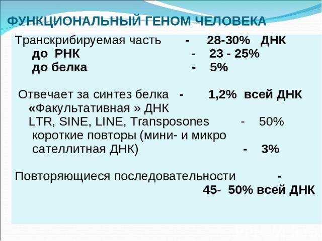 ФУНКЦИОНАЛЬНЫЙ ГЕНОМ ЧЕЛОВЕКА Транскрибируемая часть - 28-30% ДНК до РНК - 23 - 25% до белка - 5% Отвечает за синтез белка - 1,2% всей ДНК «Факультативная » ДНК LTR, SINE, LINE, Transposones - 50% короткие повторы (мини- и микро сателлитная ДНК) - 3…