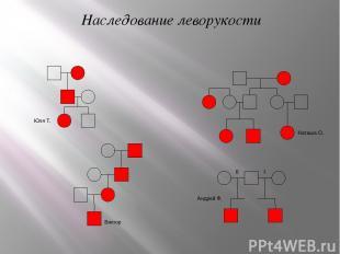 Наследование леворукости Юля Т. Наташа О. Андрей Ф. II I Виктор