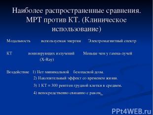 Наиболее распространенные сравнения. МРТ против КТ. (Клиническое использование)