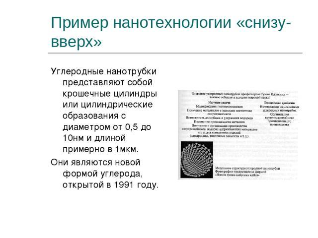 Пример нанотехнологии «снизу-вверх» Углеродные нанотрубки представляют собой крошечные цилиндры или цилиндрические образования с диаметром от 0,5 до 10нм и длиной примерно в 1мкм. Они являются новой формой углерода, открытой в 1991 году.