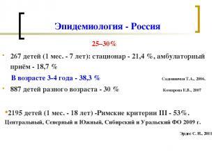 Эпидемиология - Россия 25–30% 267 детей (1 мес. - 7 лет): стационар - 21,4 %, ам