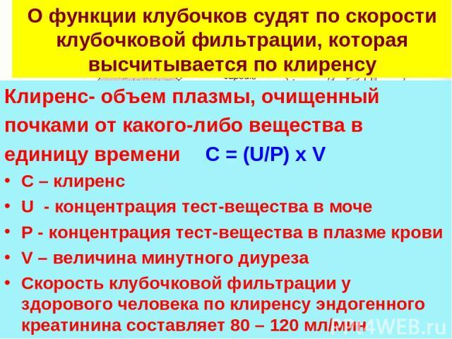 О функции клубочков судят по скорости клубочковой фильтрации, которая высчитывается по клиренсу Клиренс- объем плазмы, очищенный почками от какого-либо вещества в единицу времени C = (U/P) x V С – клиренс U - концентрация тест-вещества в моче P - ко…