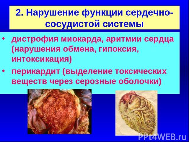 2. Нарушение функции сердечно-сосудистой системы дистрофия миокарда, аритмии сердца (нарушения обмена, гипоксия, интоксикация) перикардит (выделение токсических веществ через серозные оболочки)