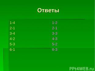 Ответы 1-4 2-1 3-4 4-2 5-3 6-1 1-2 2-1 3-3 4-3 5-2 6-3