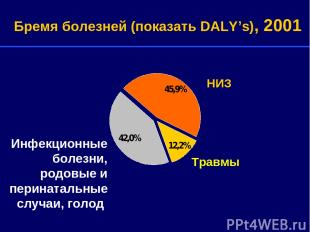 Травмы НИЗ Бремя болезней (показать DALY's), 2001 Инфекционные болезни, родовые