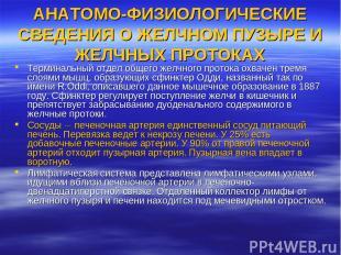 АНАТОМО-ФИЗИОЛОГИЧЕСКИЕ СВЕДЕНИЯ О ЖЕЛЧНОМ ПУЗЫРЕ И ЖЕЛЧНЫХ ПРОТОКАХ Терминальны