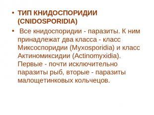 ТИП КНИДОСПОРИДИИ (CNIDOSPORIDIA) Все книдоспоридии - паразиты. К ним принадлеж