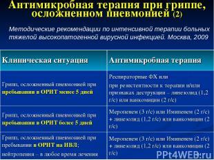 * Антимикробная терапия при гриппе, осложненном пневмонией (2) Методические реко