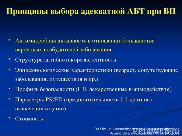 * Принципы выбора адекватной АБТ при ВП Антимикробная активность в отношении большинства вероятных возбудителей заболевания Структура антибиотикорезистентности Эпидемиологические характеристики (возраст, сопутствующие заболевания, путешествия и пр.)…
