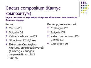 Cactus compositum (Кактус композитум) Недостаточность коронарного кровообращения