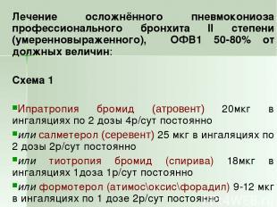 Лечение осложнённого пневмокониоза профессионального бронхита II степени (умерен