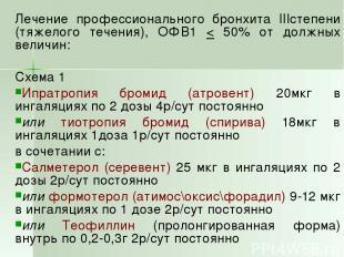 Лечение профессионального бронхита IIIстепени (тяжелого течения), ОФВ1 < 50% от