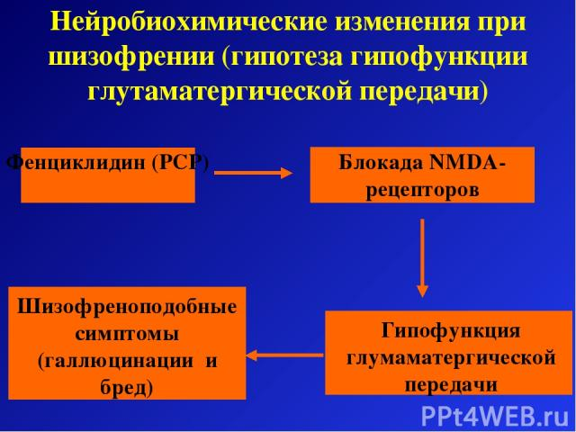 Нейробиохимические изменения при шизофрении (гипотеза гипофункции глутаматергической передачи) Шизофреноподобные симптомы (галлюцинации и бред)