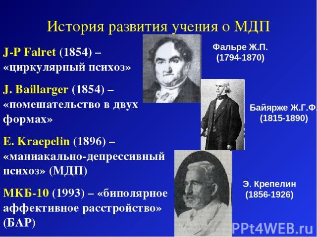 J-P Falret (1854) – «циркулярный психоз» J. Baillarger (1854) – «помешательство в двух формах» E. Kraepelin (1896) – «маниакально-депрессивный психоз» (МДП) МКБ-10 (1993) – «биполярное аффективное расстройство» (БАР) История развития учения о МДП Фа…
