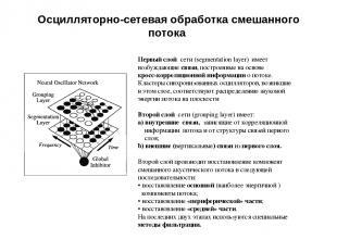 Осцилляторно-сетевая обработка смешанного потока Первый слой сети (segmentation