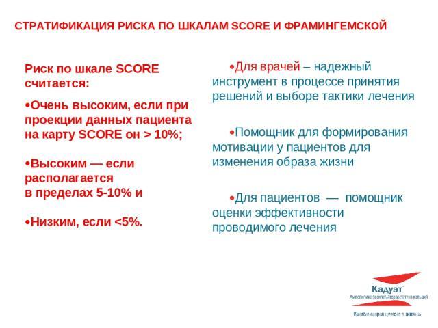 Риск по шкале SCORE считается: Очень высоким, если при проекции данных пациента на карту SCORE он > 10%; Высоким — если располагается в пределах 5-10% и Низким, если