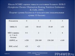 Шкала SCORE оценки тяжести состояния больного ХОБЛ (Symptoms Chronic Obstruction