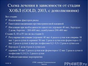 Схема лечения в зависимости от стадии ХОБЛ (GOLD, 2003, с дополнениями) Все стад