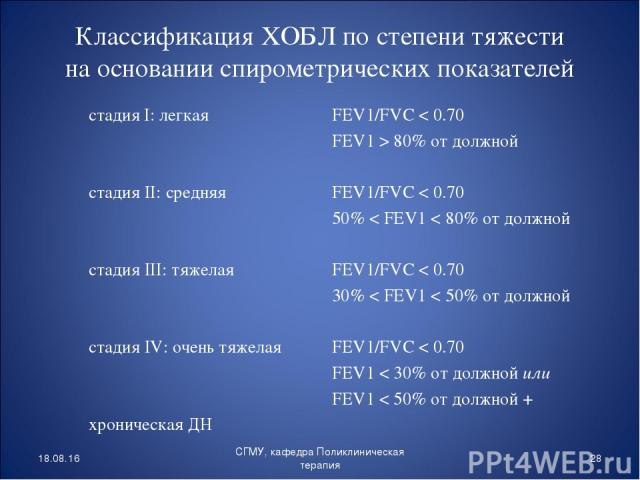стадия I: легкая стадия II: средняя стадия III: тяжелая стадия IV: очень тяжелая хроническая ДН FEV1/FVC < 0.70 FEV1 > 80% от должной FEV1/FVC < 0.70 50% < FEV1 < 80% от должной FEV1/FVC < 0.70 30% < FEV1 < 50% от должной FEV1/FVC < 0.70 FEV1 < 30% …