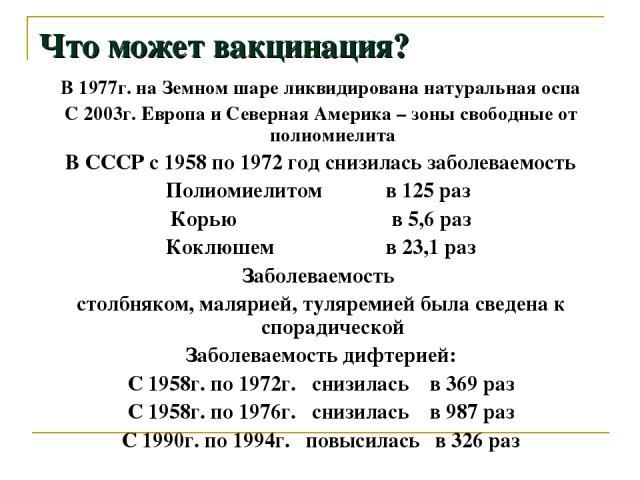 Что может вакцинация? В 1977г. на Земном шаре ликвидирована натуральная оспа С 2003г. Европа и Северная Америка – зоны свободные от полиомиелита В СССР с 1958 по 1972 год снизилась заболеваемость Полиомиелитом в 125 раз Корью в 5,6 раз Коклюшем в 23…