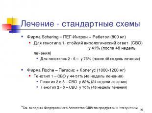 * Лечение - стандартные схемы Фирма Schering – ПЕГ-Интрон + Ребетол (800 мг) Для