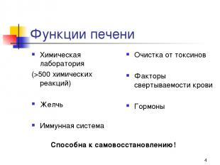 * Функции печени Химическая лаборатория (>500 химических реакций) Желчь Иммунная