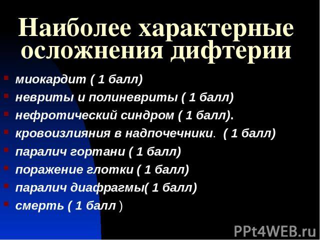 Наиболее характерные осложнения дифтерии миокардит ( 1 балл) невриты и полиневриты ( 1 балл) нефротический синдром ( 1 балл). кровоизлияния в надпочечники. ( 1 балл) паралич гортани ( 1 балл) поражение глотки ( 1 балл) паралич диафрагмы( 1 балл) сме…