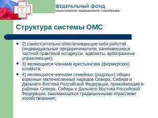 Структура системы ОМС 2) самостоятельно обеспечивающие себя работой (индивидуаль