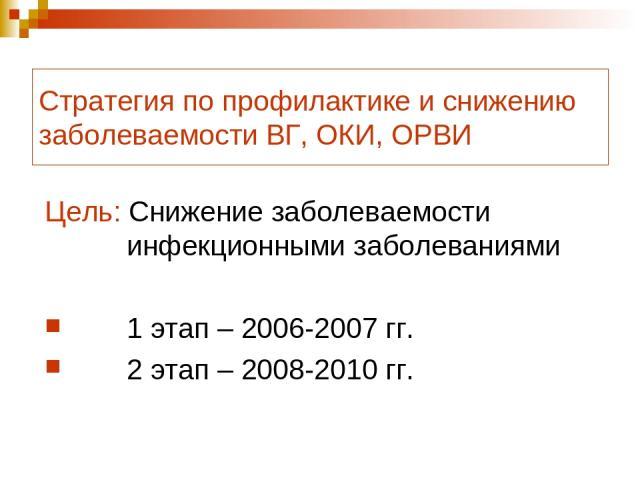 Стратегия по профилактике и снижению заболеваемости ВГ, ОКИ, ОРВИ Цель: Снижение заболеваемости инфекционными заболеваниями 1 этап – 2006-2007 гг. 2 этап – 2008-2010 гг.