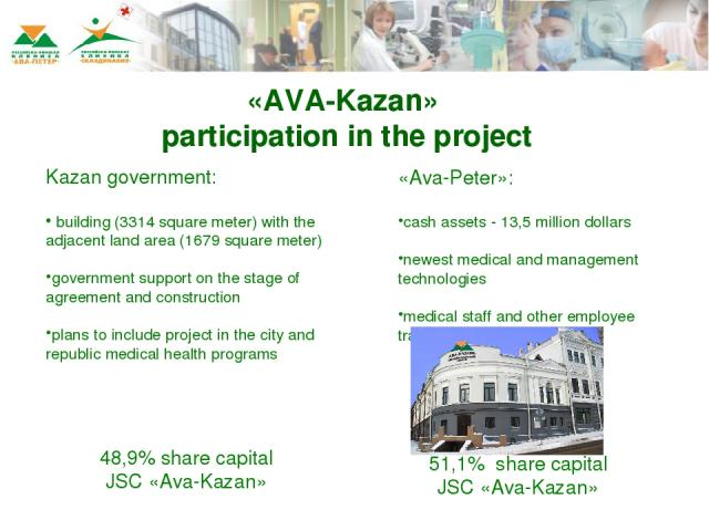 Kazan government: building (3314 square meter) with the adjacent land area (1679 square meter) government support on the stage of agreement and construction plans to include project in the city and republic medical health programs «Ava-Peter»: cash …