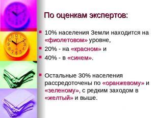 По оценкам экспертов: 10% населения Земли находится на «фиолетовом» уровне, 20%