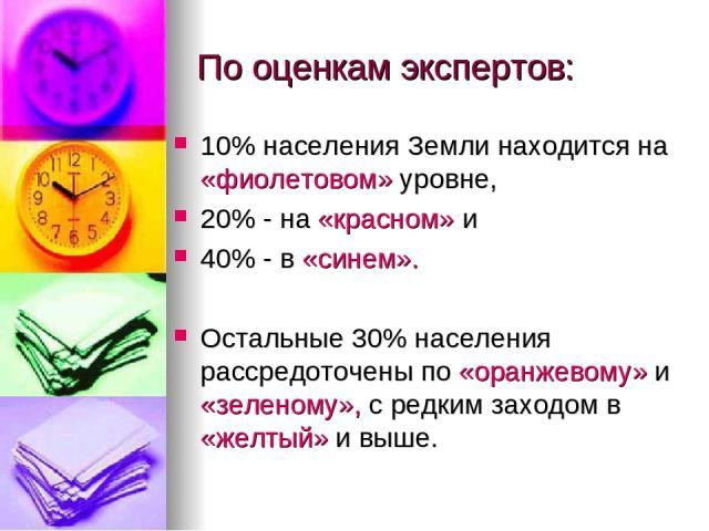 По оценкам экспертов: 10% населения Земли находится на «фиолетовом» уровне, 20% - на «красном» и 40% - в «синем». Остальные 30% населения рассредоточены по «оранжевому» и «зеленому», с редким заходом в «желтый» и выше.