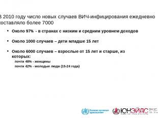 В 2010 году число новых случаев ВИЧ-инфицирования ежедневно составляло более 700