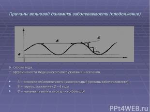 Причины волновой динамики заболеваемости (продолжение) 6. сезона года; 7. эффект