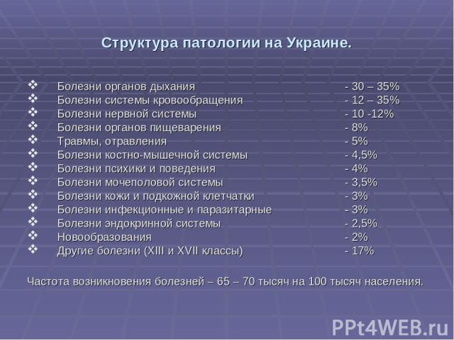 Структура патологии на Украине. Болезни органов дыхания - 30 – 35% Болезни системы кровообращения - 12 – 35% Болезни нервной системы - 10 -12% Болезни органов пищеварения - 8% Травмы, отравления - 5% Болезни костно-мышечной системы - 4,5% Болезни пс…