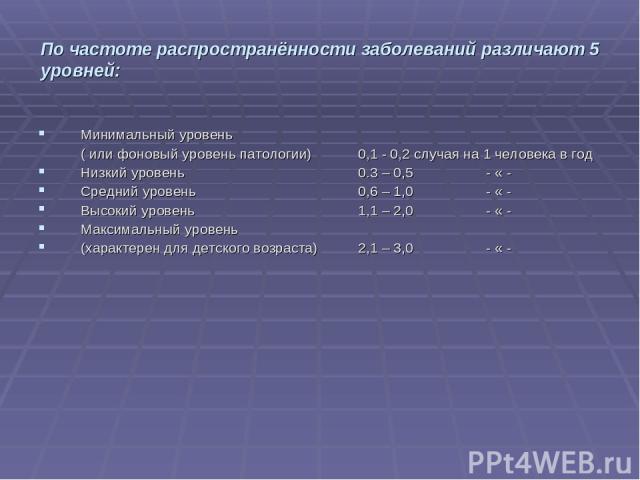 По частоте распространённости заболеваний различают 5 уровней: Минимальный уровень ( или фоновый уровень патологии) 0,1 - 0,2 случая на 1 человека в год Низкий уровень 0.3 – 0,5 - « - Средний уровень 0,6 – 1,0 - « - Высокий уровень 1,1 – 2,0 - « - М…