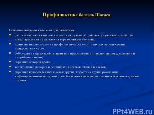Профилактика болезнь Шагаса Основные подходы в области профилактики: распыление