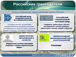 Российские грантодатели Мурманский государственный технический университет ООС Н